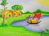 Cartoon Drawing for Class 1 How to Draw A Village Scenery Step by Step Very Easy Youtube