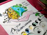 Cartoon Drawing for Class 1 How to Draw Stop Global Warming and Save Planet Earth Drawing for