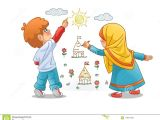 Cartoon Drawing Girl and Boy Muslim Girls and Boy Draw Landscapes On the Walls Stock Vector
