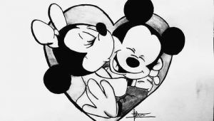 Cartoon Drawing Minnie Mouse Cartoon Cute Disney Draw Love Mickey Minnie Rose I Love You