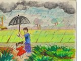 Cartoon Drawing Rainy Day How to Draw A Village Rainy Day Step by Step In Oil Pastel Youtube
