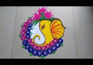 Cartoon Drawing Rangoli Ganeshji Ki attractive Rangoli Design Made by Jyoti Raut Rangoli
