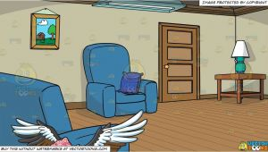 Cartoon Drawing Room A Flying Vulture and A Simple Living Room Background Clipart