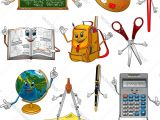 Cartoon Drawing Supplies Back to School Items Cartoon Characters Royalty Free Vector