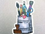 Cartoon Drawing Supplies Little Lady My Art Supplies Thick Durable Vinyl Sticker Etsy