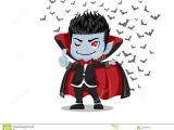 Cartoon Drawing Vampire Halloween Cartoon Dracula Vampire and Flying Bats isolated On W