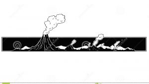Cartoon Drawing Volcano Vector Artistic Drawing Illustration Of Volcano Landscape Stock