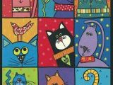 Cartoon Quilt Drawing Hand Painted Animals Fashion Diy Cats Cat Art Cat Quilt