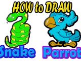 Charizard Drawing Easy Easy Drawing How to Draw Parrot and Snake Animals