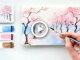 Cherry Drawing Easy Cherry Blossom Alley Easy Watercolor Tutorial Painting In
