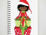 Christmas Girl Elf Drawing African American Girl Christmas Elf Spiral Notebook by