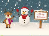Christmas Girl Elf Drawing Christmas Sign Snowman Reindeer Stock Vector
