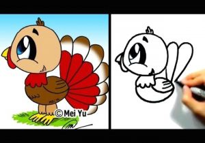 Cute Drawing Ideas Youtube Great for Thanksgiving Cute Lil Turkey Mei Yu Fun 2 Draw Youtube