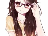 Cute Drawing Of A Girl with Glasses Anime Girl with Glasses Brown Eyes and Brown Hair Female