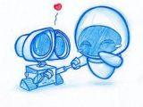 Cute Drawing On Tumblr Blue Doodle 7 Wall E Art Drawings Art Disney Drawings