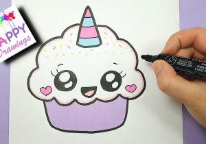 Cute Drawings Easy Youtube How to Draw A Cute Cupcake Unicorn Super Easy and Kawaii Youtube