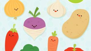 Cute Vegetables Drawing Veg Clipart Commercial Use Cute Vector Educational Art by
