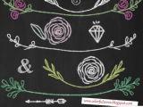 Draw A Rose with Chalk Chalkboard Wedding Clipart Chalk Roses Clipart Chalk Laurels Clip