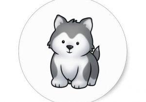 Draw Baby Wolf Cartoon Huskee Classic Round Sticker Hating Pinterest Dogs Clip Art