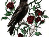 Draw Out A Rose Thorn Crow and Rose Thorn Caw Caw Tattoos Rose Tattoos Crow