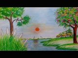 Drawing 4 Seasons How to Draw Spring Season Scenery Step by Step with Oil Pastel