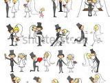 Drawing A Cartoon Bride Wedding Doodle Set Of Bride and Groom Stock Vector Wedding