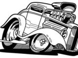 Drawing A Cartoon Car Old Muscle Car Cartoon Drawings the Line Art Drawing Above Was