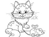 Drawing A Cartoon Cat Face Coloring Page Outline Cartoon Cat toy Stock Vector Royalty Free