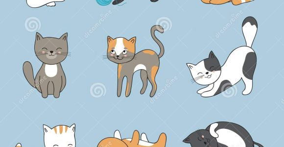 Drawing A Cartoon Cat Face Hand Drawing Cute Cats Vector Kitty Collection Stock Vector