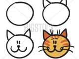 Drawing A Cartoon Cat Face Teach Your Child How Vector Photo Free Trial Bigstock