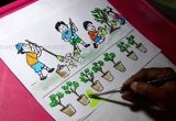 Drawing A Cartoon Cricket How to Draw Clean India Green India Drawing for Kids Youtube