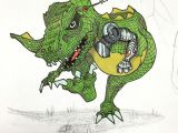 Drawing A Cartoon Dinosaur Robo Rex Coming to Get You Doodle Draw Drawing Sketch