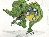 Drawing A Cartoon T-rex Robo Rex Coming to Get You Doodle Draw Drawing Sketch