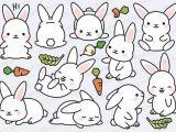 Drawing A Cute Bunny Premium Vector Clipart Kawaii Bunny Cute Bunny Clipart Set