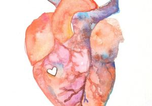 Drawing A Heart On Your Face Anatomy Of Love Human Heart Watercolor Print Diy Inspiration