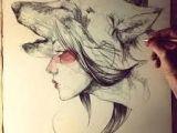 Drawing A Wolf Girl Wolf Girl Drawing Google Search Tatto Drawings Art Art Drawings