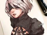 Drawing Anime Using Watercolor Hot Anime Art Black Fanart Game Girl Manga Nierautomata