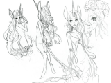 Drawing Base Girl Leafy Haired Unicorn Girl Character Design Inspiration