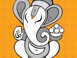 Drawing Cartoon Ganesh Cartoon Ganesha On Yellow Background Vector Illustration Of Plants