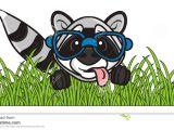 Drawing Cartoon Grass Raccoon Sitting In the Grass Stock Illustration Illustration Of