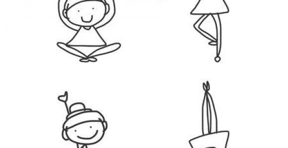 Drawing Cartoon Humans Hand Drawing Cartoon Happy People Yoga Royalty Free Cliparts