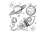 Drawing Cartoon Pdf Doodle Space Planets Rocket Ship Stars Explore Vector A Liked On