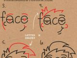 Drawing Cartoon with Shapes How to Draw Cartoon Faces From the Word Face Easy Step by Step