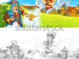 Drawing Cartoon Wizard Cartoon Scene Happy King Od Prince Stock Illustration Royalty Free