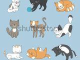 Drawing Cartoons Animals Hand Drawing Cute Cats Vector Kitty Stock Vektorgrafik Lizenzfrei
