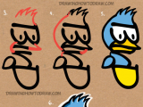 Drawing Cartoons From Words How to Draw A Cartoon Bird From the Word Bird with Easy Steps