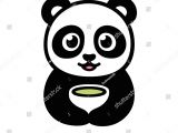 Drawing Cartoons Panda Cute Cartoon Panda Cup Green Tea Stock Vektorgrafik Lizenzfrei