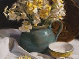 Drawing Competition Flowers Laurie Kersey Narcissus On White Oil Painting Entry March