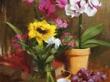 Drawing Competition Flowers orchids with Sunflower by Laurie Kersey Oil 20 X 16 Flowers