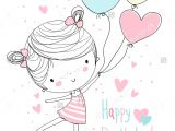 Drawing Cute Balloons Girl Holding Balloons Happy Birthday Drawing Compleanno Buon